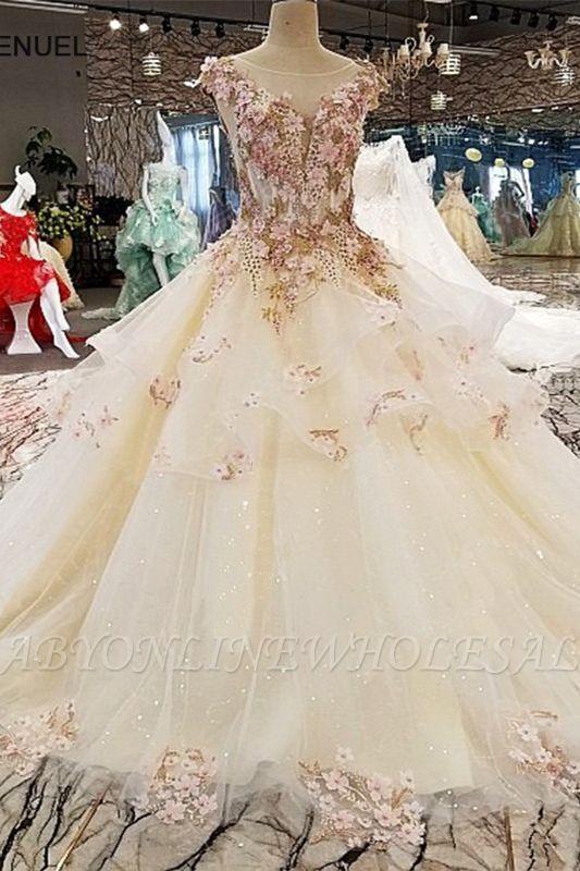 Wunderschöne Abendmode Blumen Applikationnen | Elegantes Abendkleid Prinzessin