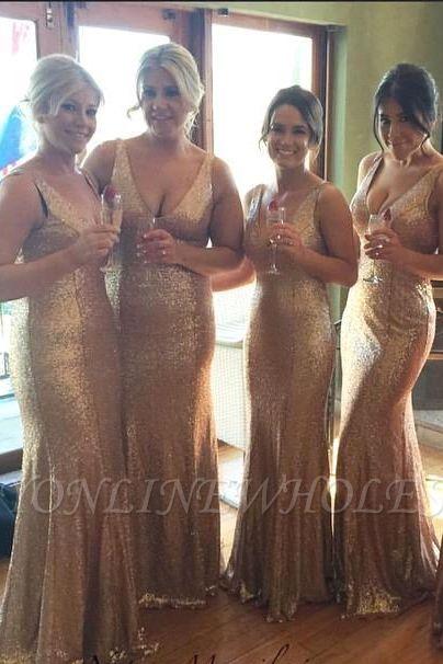 Robes de demoiselle d'honneur en or avec paillettes à col en V Plus la longueur au sol longue