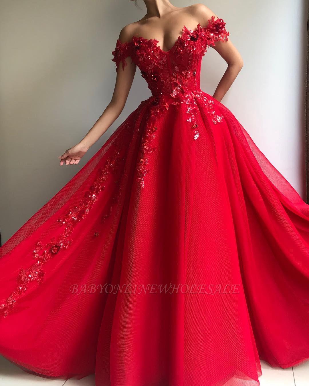 Elegante Abendkleider Lang Rot  Abiballkleider mit Spitze
