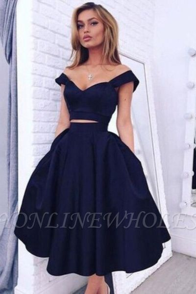 Gorgeous Two pieces Off-the-shoulder Prom Dress Short Homecoming Dress BA3609