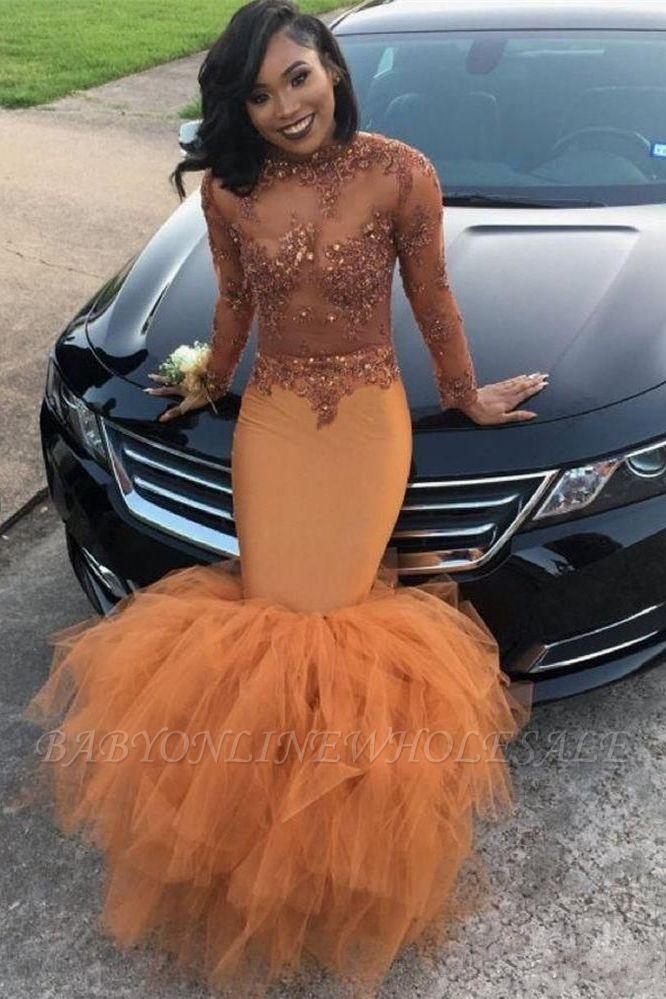 Modest Lace Appliques Mermaid Long Sleeve   Prom Dress BA8084 BK0