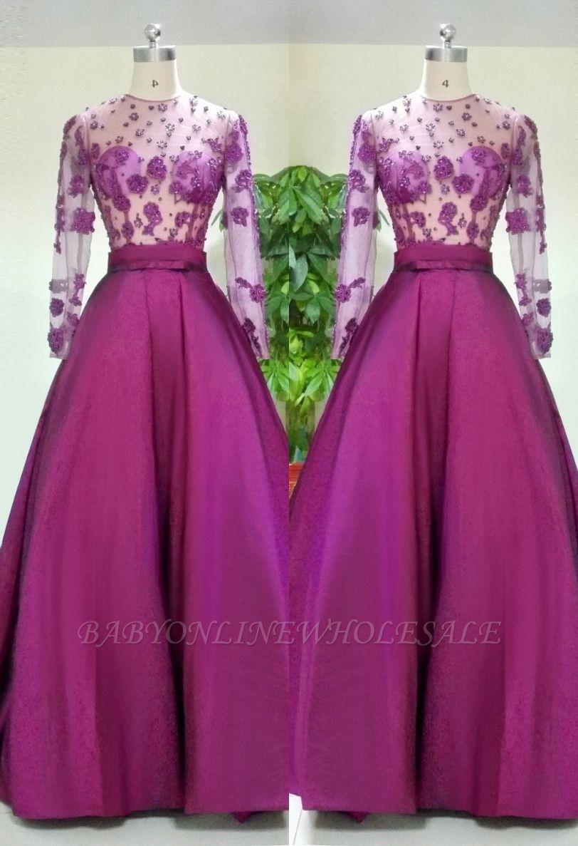 Великолепное вечернее платье с длинными рукавами Аппликации Бисероплетение