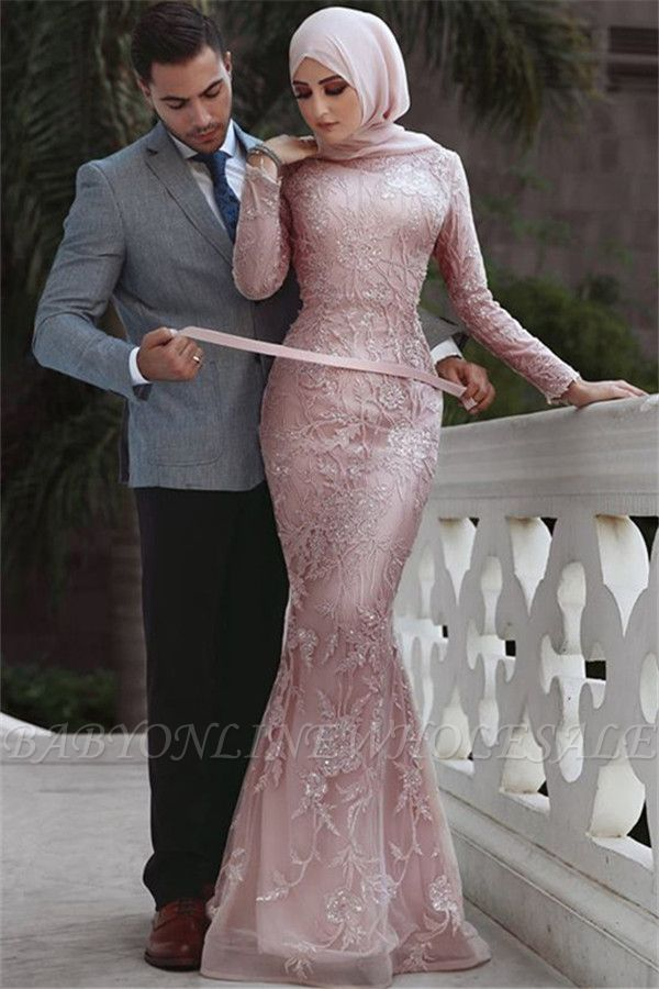 Pink Detachable Long-Sleeves Prom Dresses | Appliques Lace Mermaid Evening Gowns
