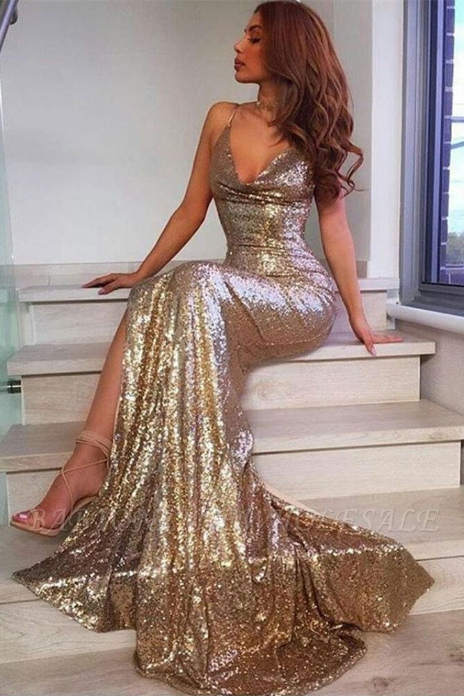 V-Neck Sequins Prom Dress | Mermaid Evening Dress With Slit