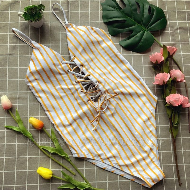 Elegent One piece Bandage Swimsuits with Stripe