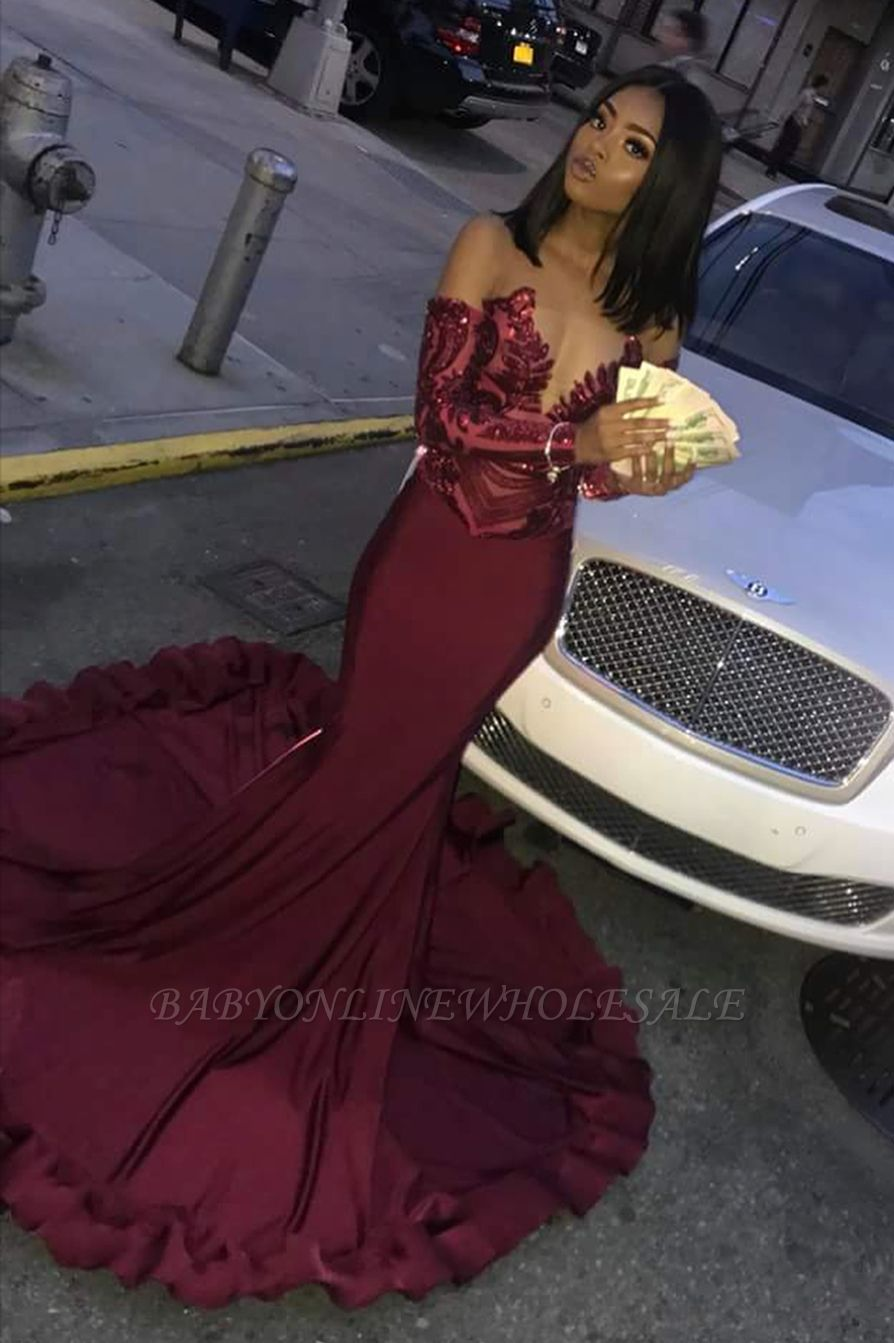 Sexy Burgundy Sequins Mermaid Prom Dresses | Cheap Long Sleeves Evening Dresses On Sale