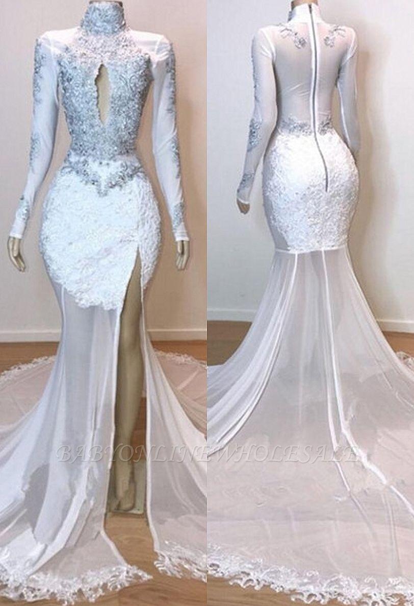 Robes de bal à manches longues en dentelle blanche superbes   Robes de soirée sirène en tulle diaphane 2021