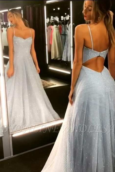 Sparkly Backless Dress Tulle Floor Length Prom Dresses | Long Evening Gowns on Sale