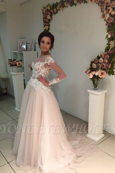 Delicate Lace Appliques Tulle Long-Sleeve A-line Sweep-Train Bridal Dress
