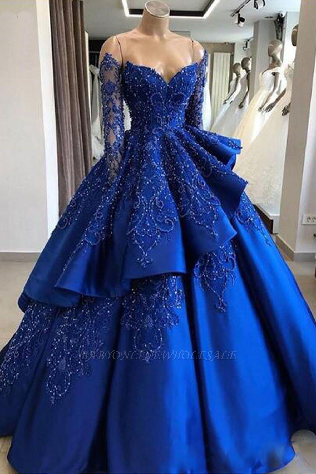 Precioso vestido de fiesta con volantes de encaje azul real | Granos sin tirantes de novia vestidos de quinceañera