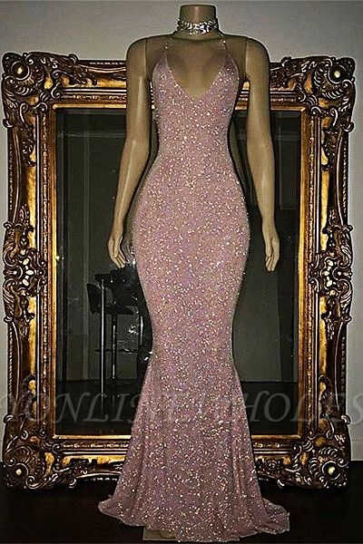 Stunning Sequined Mermaid Spaghetti-strap Long Sleeveless Prom Dress