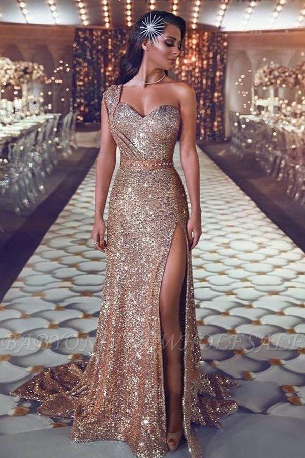 Magnifiques robes de bal de sirène de paillettes | Robe de soirée asymétrique avec fente