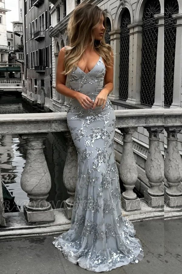 SAGE | Mermaid V-neck Spaghetti Floor-length Crystal Beads Prom Dresses