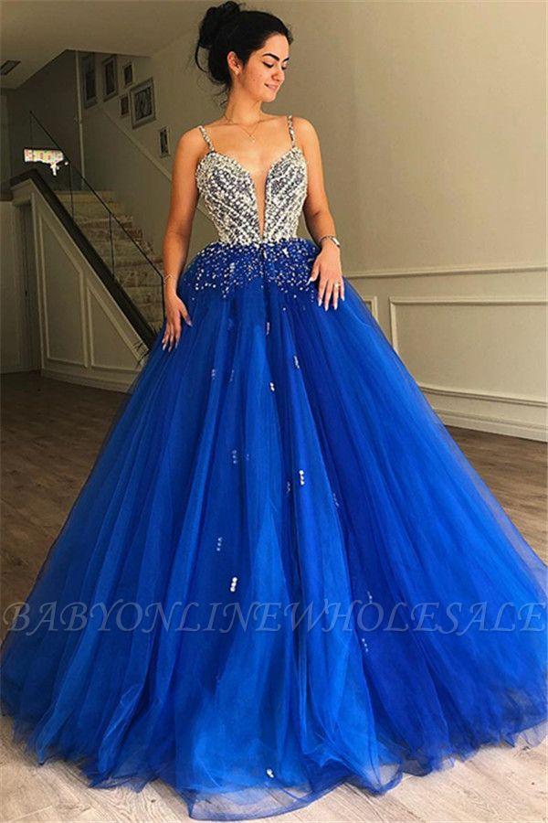 Gorgeous A-Line Spaghetti Straps Sleeveless Tulle Beaded Evening Dresses