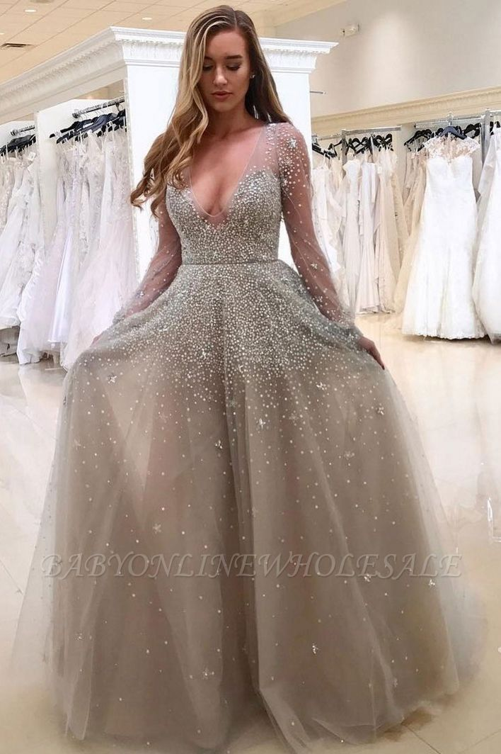 Popular Long Sleeve V-neck Beading A-line Prom Dress | Plus Size Prom Dress