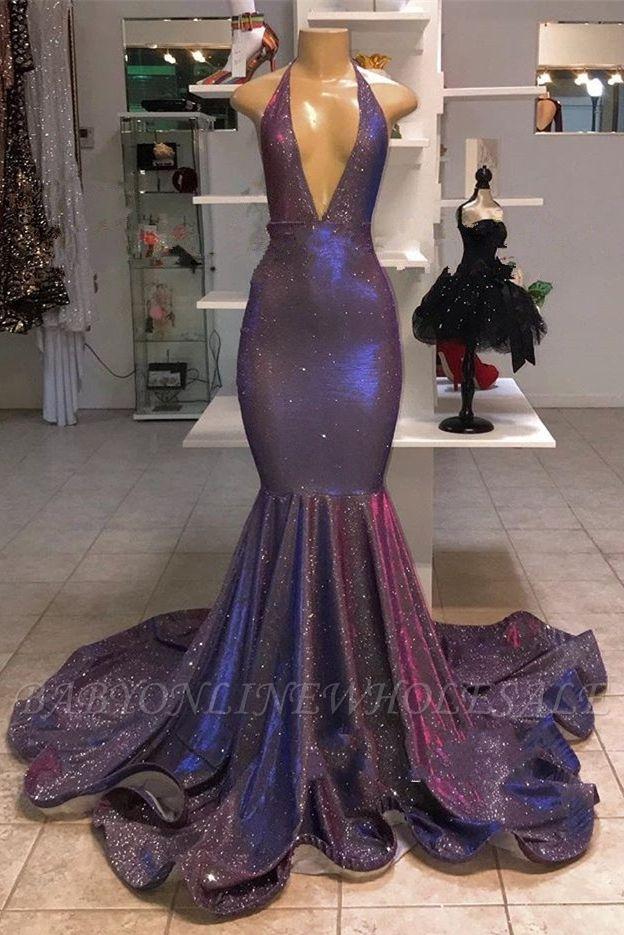 Sexy tiefem V-Ausschnitt ärmellose Ballkleider | 2021 Neckholder Memaiad Sequins Abendkleider
