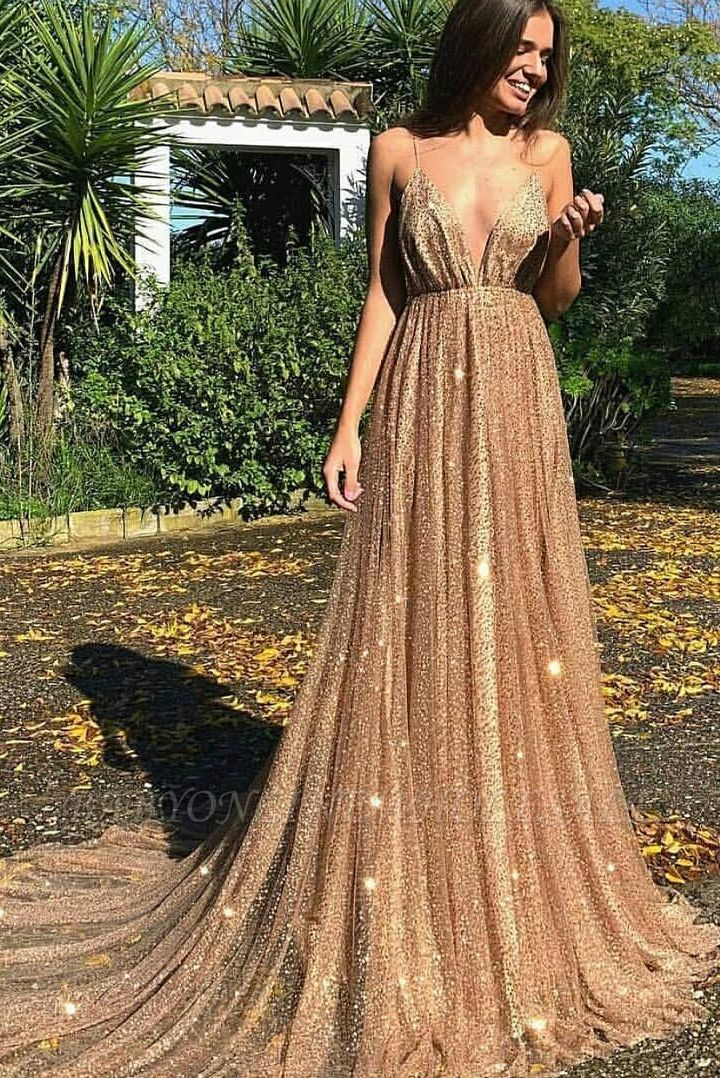 Glamorous Sequins A-Line Long Prom Gowns | 2019 Spaghetti Straps V-Neck Evening Dress