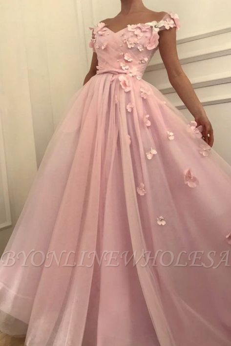 Pink Flowers A-Line Tulle Long Prom Dress | Elegant Off-the-Shoulder Evening Gowns