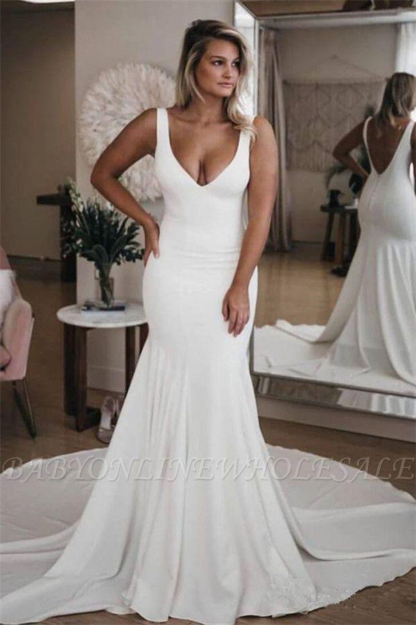 Schlichtes Brautkleid Meerjungfrau | Hochzeitskleider Günstig Online Kaufen