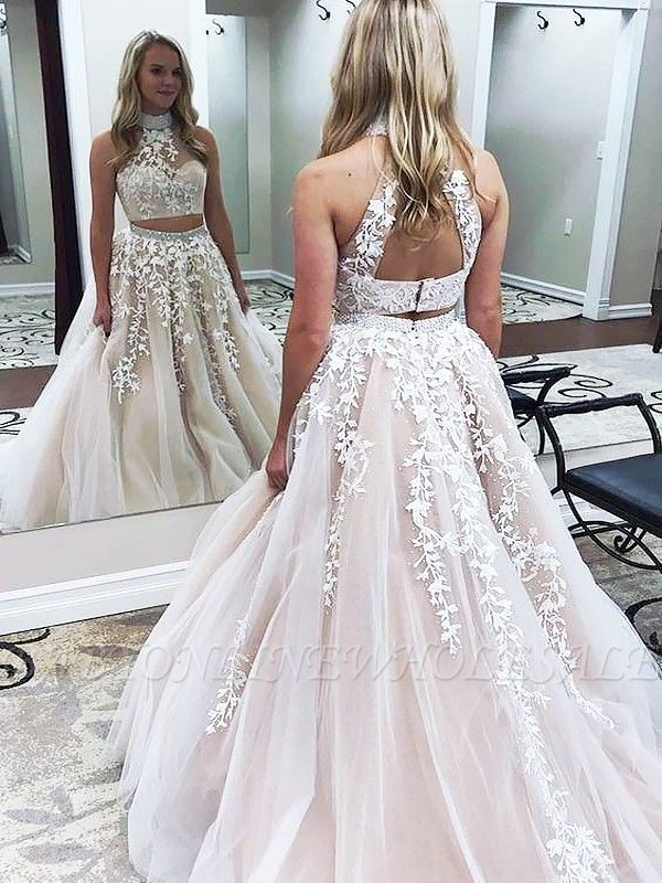 Gorgeous Halter Two Piece Applique Prom Dresses | Elegant Lace Up Crystal Evening Dresses with Beads