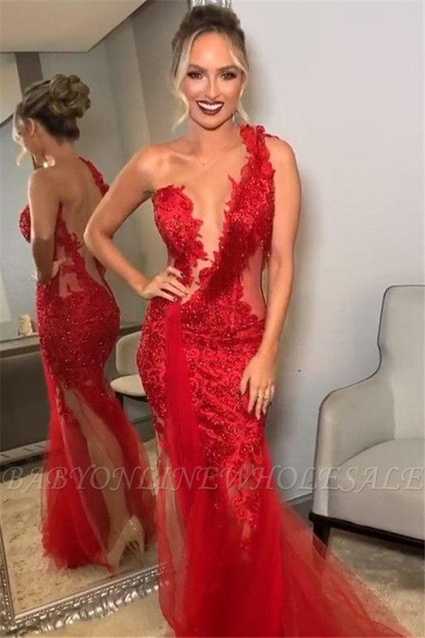 Burgundy One-Shoulder Lace Applique Backless Mermaid Tullle Prom Dresses