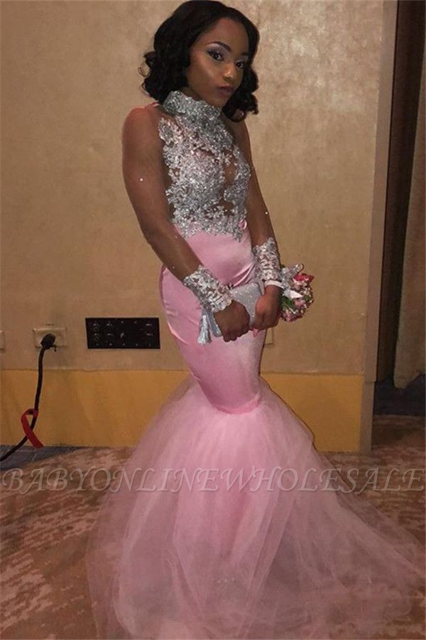 Pink High-Neck Sleeveless Appliques Tulle Mermaid Prom Dress