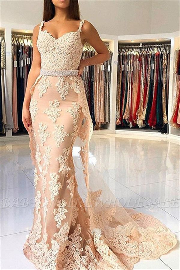 Alluring Elegant Lace Spaghetti Strap Sexy Mermaid Prom Dresses | Sleeveless Evening Dresses with Over-skirt