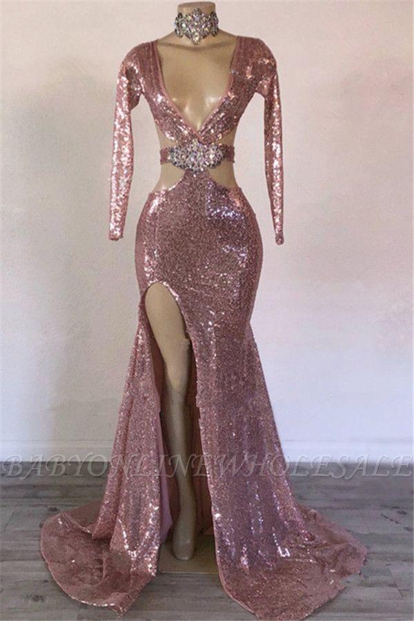 Lentejuelas glamorosas con cuello en V manga larga con abertura lateral sirena vestidos de baile