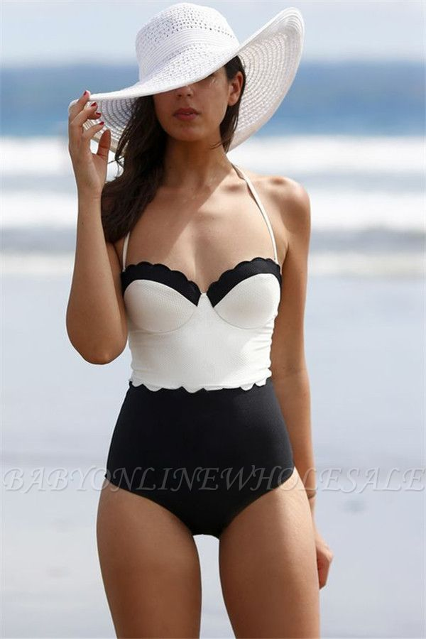 Halter One-piece Sweetheart Vintage Black White High Waist Beachwears