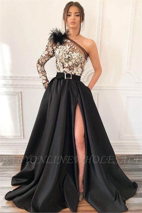 Sexy Blcak One-Shoulder Side-Slit Feather Applique Prom Dress