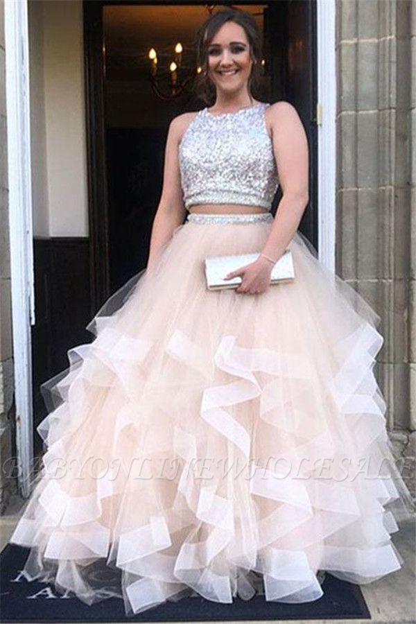 Sexy Pailletten Juwel Sheer Prom Kleider | Zwei Stück ärmellose Abendkleider