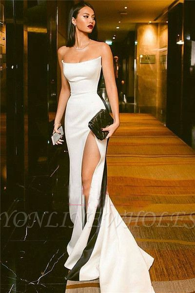 Sexy Strapless Side Slit Evening Dresses Online | Black White Sleeveless Formal Party Dress