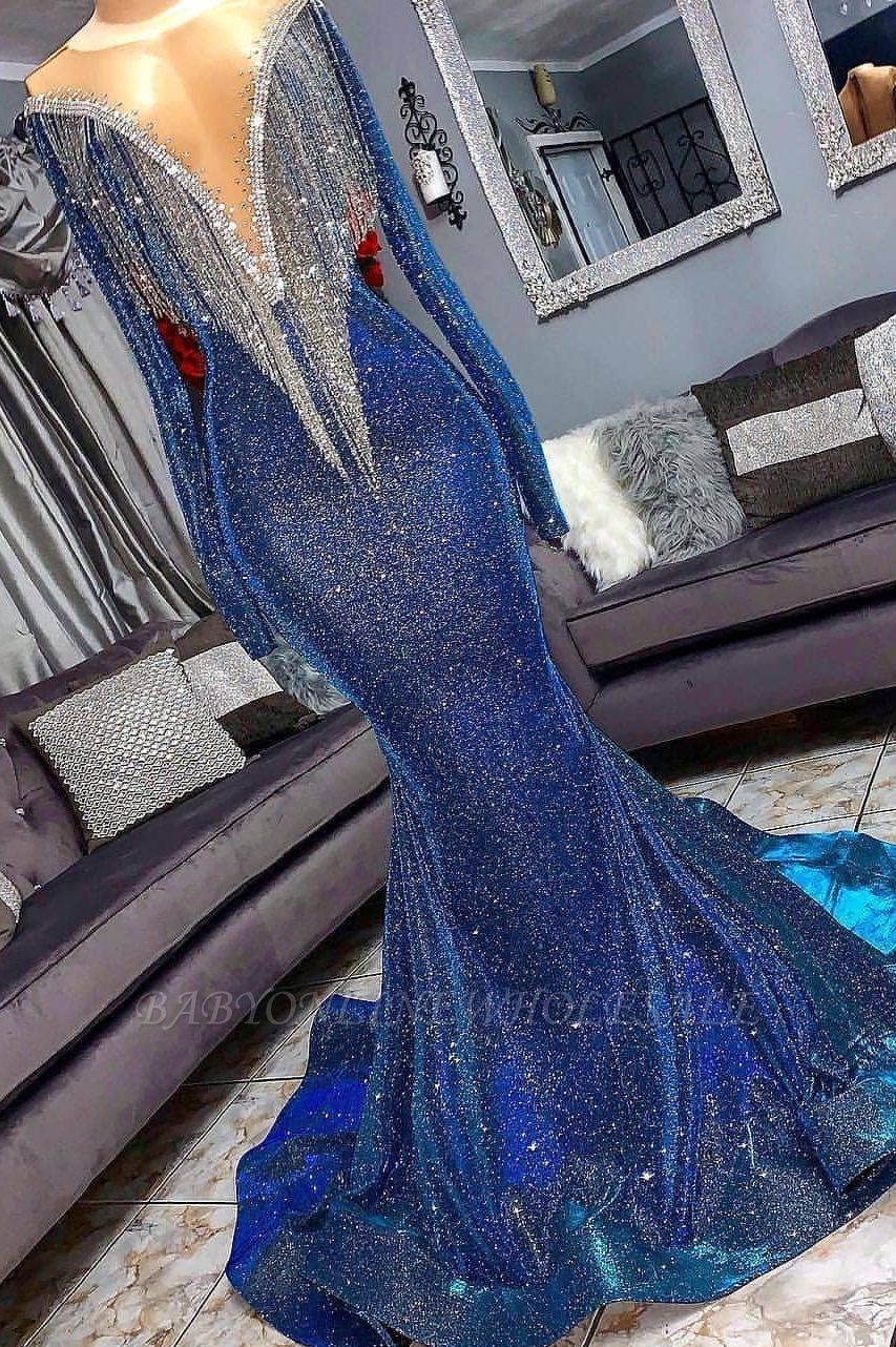Luxurious Sequins Long Sleeves Mermaid Sheer Neckline Prom Dresses