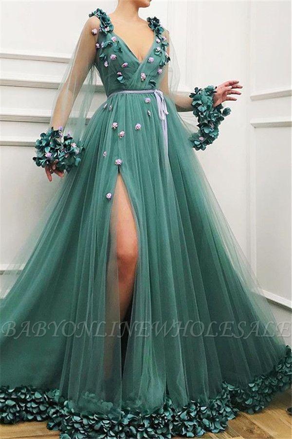 Precioso vestido de fiesta de una línea de tul de manga larga con abertura lateral en tul