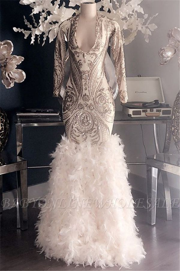 Mermaid Glamorous Appliques Fur V-Neck Long Sleeves Prom Dresses