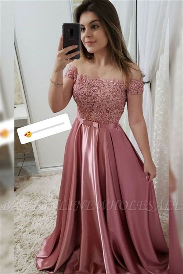 Applique Off-the-Shoulder Prom Dresses   Beads Sleeveless Evening Dresses with Bow-knot Belt