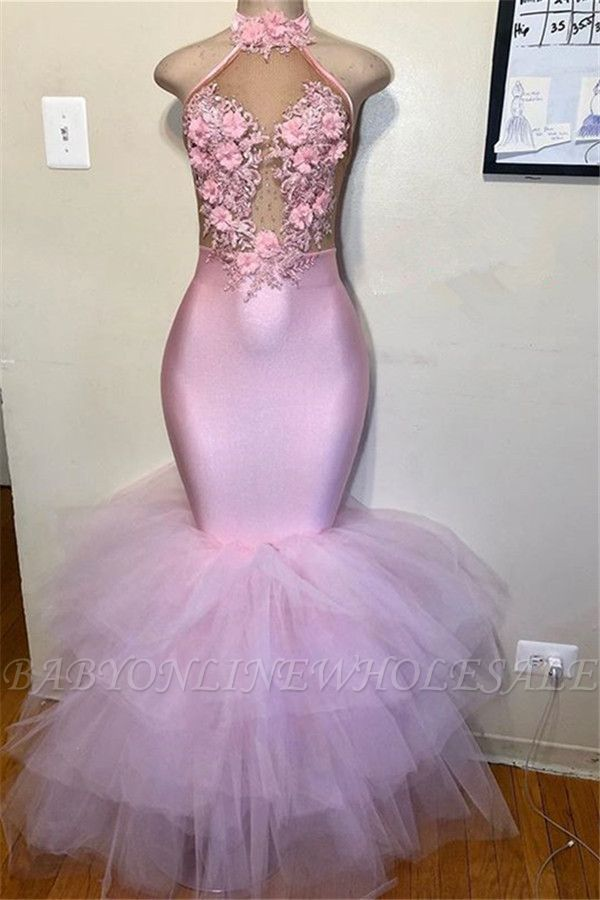 Rosa Halfter ärmellose Blume Applikationen Tüll Meerjungfrau Abendkleid