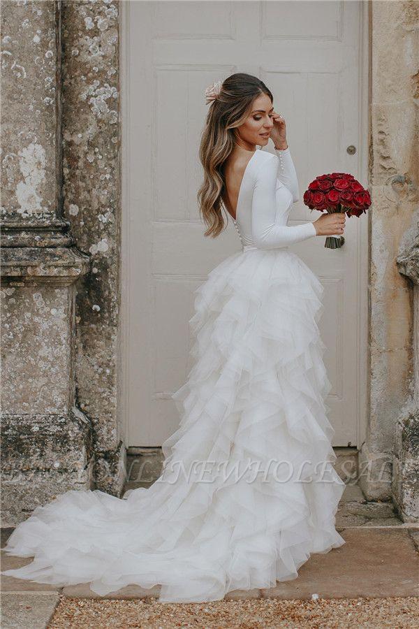 Elegant Applique Wedding Dresses | Side slit Mermaid Sleeveless Floral Bridal Gowns