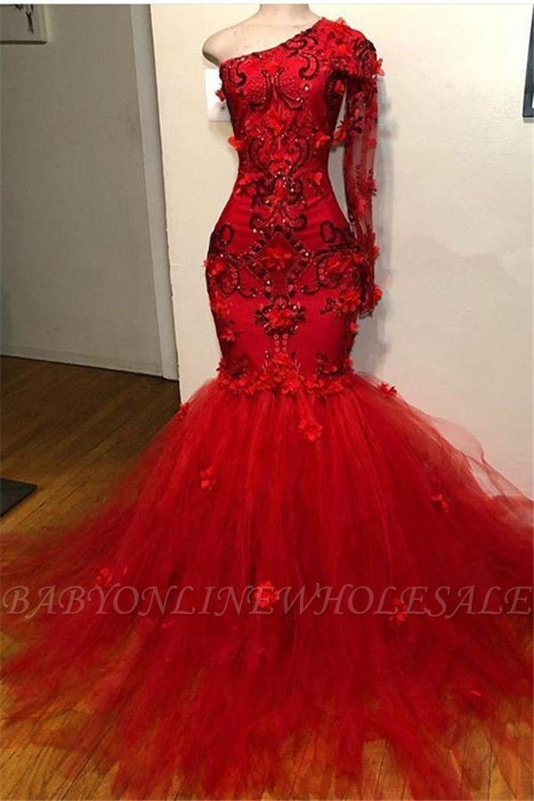 Elegant Red One-Shoulder Long-Sleeves Appliques Mermaid Prom Dress
