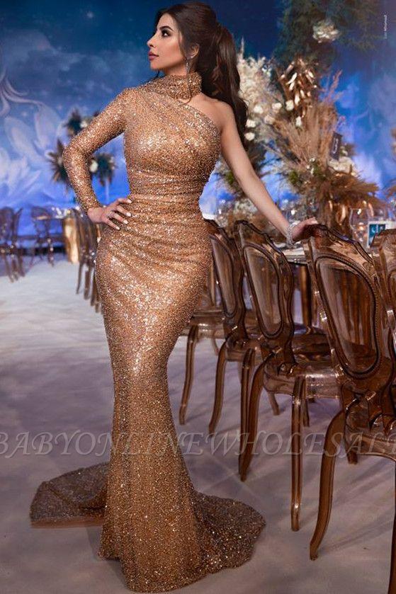 Glamorosa Hign-Neck Lentejuelas de un solo hombro Vestido de noche de sirena