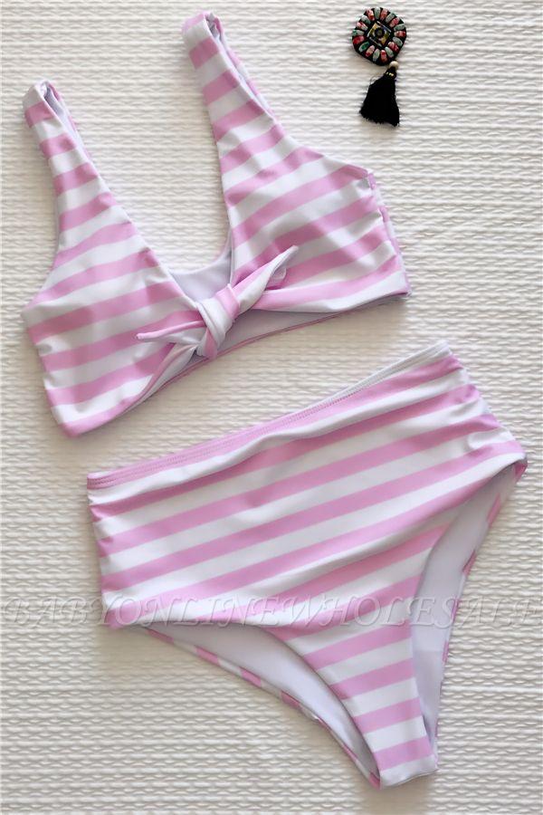 Rayures style vintage deux pièces scoop maillots de bain costumes
