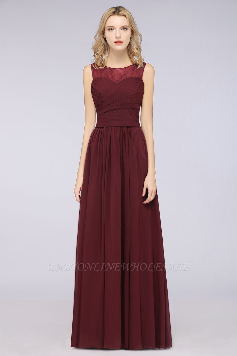 Chiffon A-Line Tulle Lace Scoop Sleeveless Long Bridesmaid Dress with Ruffle