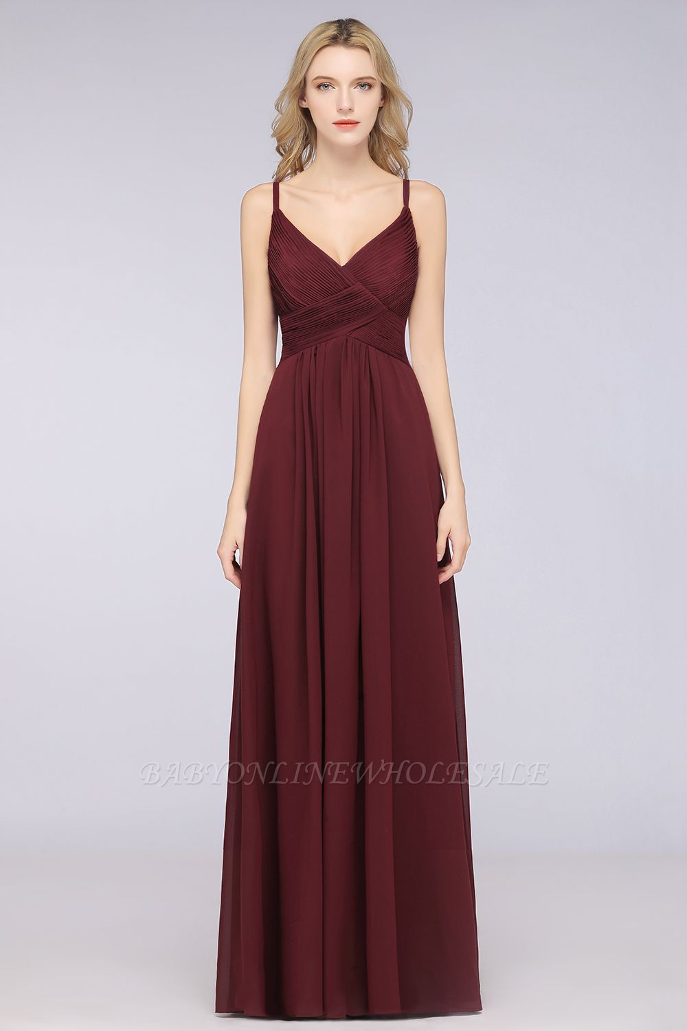 Chiffon A-Line Spaghetti-Straps V-Neck Sleeveless Long Bridesmaid Dress with Ruffles