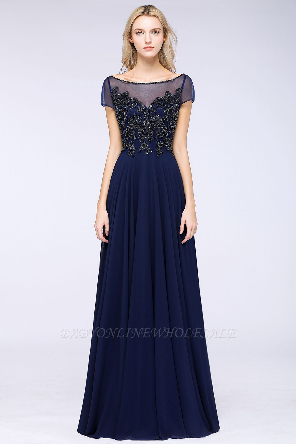Elegant A-Line Short Sleeves Appliques Beads Bridesmaid Dresses