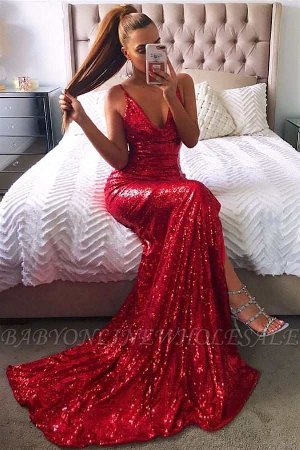 Sexy Red Sequin Prom Dresses | Halter Neck Backless High Slit Party Dresses