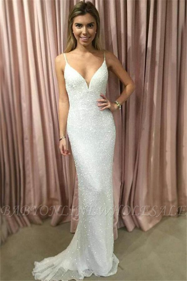Mermaid Glamorous Spaghetti-Strpas Sleeveless Prom Dresses