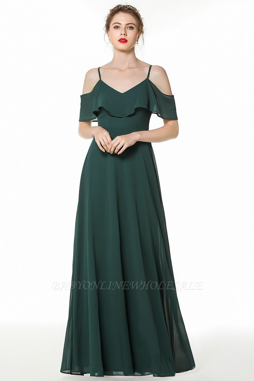 New Arrival Spaghetti Straps Open Back Simple Long Bridesmaid Dresses