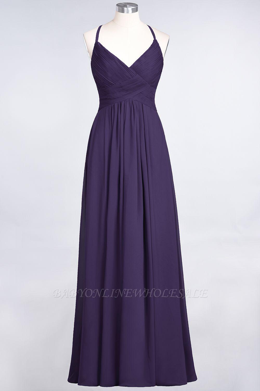 Chiffon A-Line Spaghetti-Straps V-Neck Sleeveless Long Bridesmaid Dress with Ruffles