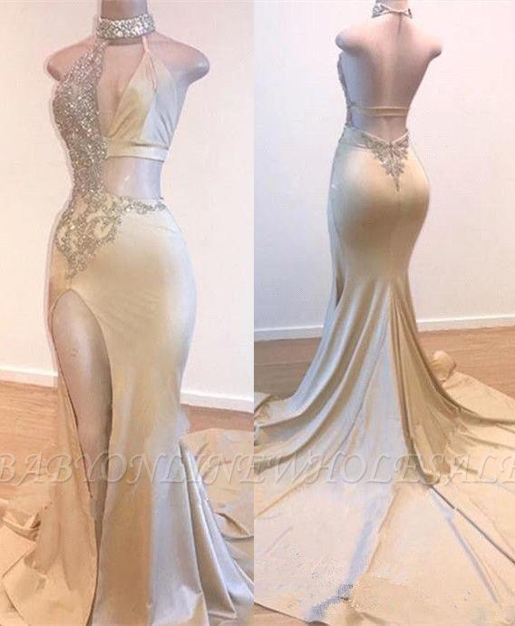 Crystal Halter Side Slit Prom Dresses | A-Line Backless Sleeveless Evening Dresses