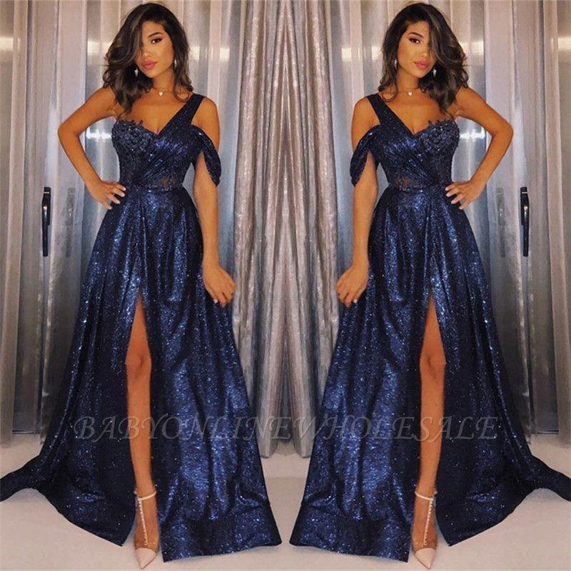 Robes De Bal 2021 Bleu Marine A Une Epaule Et A Sequins Robes De Soiree Pas Cher Sexy Une Ligne Fente Laterale Babyonlinewholesale